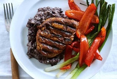 Ancho Chicken Breast with Black Beans, Bell Peppers & spring onions